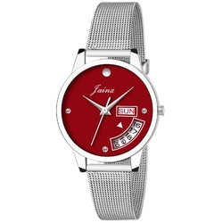Red Dial Day & Date Women Wrist Watch