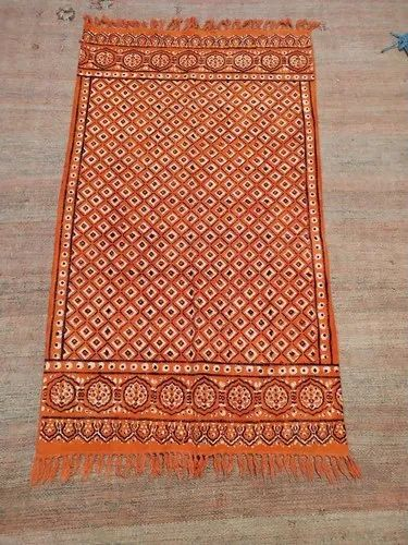 Hand Block Print Ajarak Cotton Durry