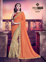 Orange And Beige Marble Chiffon and Moss Chiffon Sare