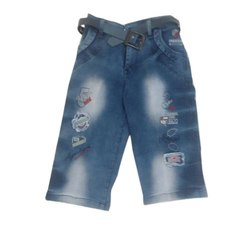 Blue Kids Casual Wear Denim Capri, Size :6 To 20