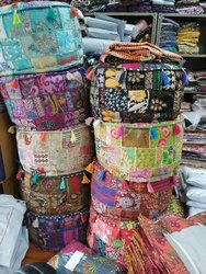 Embroidered Pouf Cover