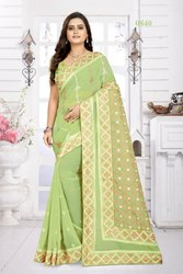 Riva Enterprise Women's Georgette With Kutchi Embroidery Work Party Wear Saree