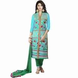 Rajnandini Sky Blue Heavy Glass Cotton Embroidered Unstitched With Zari Work Weaved Dupatta