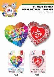 18 Heart Shape Printed Foil Balloon