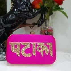 Pink Bridal Name Clutch