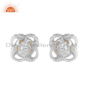 Designer Silver CZ Pearl Gemstone Stud Earrings Supplier Jewelry