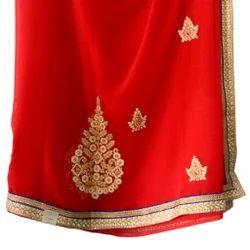 Red Chiffon Traditional Saree