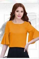 Yellow Rayon Women Top