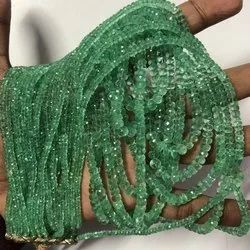 Natural Precious Zambian Emerald Stone Faceted Rondelle Beads Strand