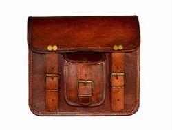 Brown Plain Vintage Look Genuine Leather Portfolio Bags