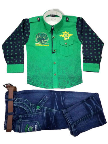 767f71d976a Green And Blue Cotton And Denim Kids Fancy Pant Shirt