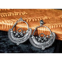 Silver Oxidized Hoop Earring