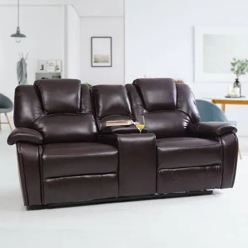 Brown Pu Leather Two Seater Recliners, Seating Capacity: 2