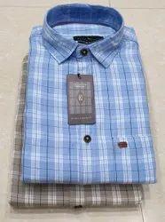 Party Wear Mens Trendy Check Cotton Shirt, Size: S-XXL