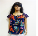 BL 414 Printed Round Neck String Top With Short Sleeve