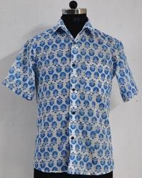Hand Block Printed Shirt mens Cotton