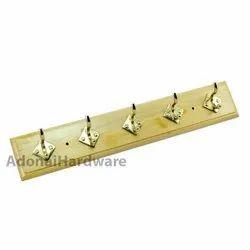 5 Brass Hooks On Natural Color Wood