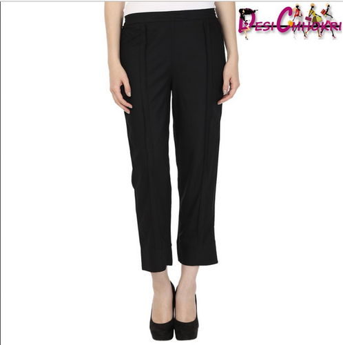 a0b0ddf81cd86 Slim Fit Desi Chhokri Black Rayon Solid Croppeds Pants