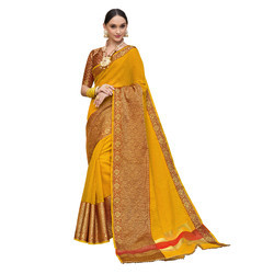 Yellow & Gold Colored Festive Wear Cotton Silk Saree