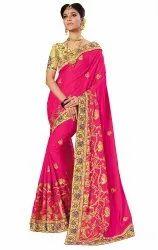 Trendy Traditional Silk Kalamkari Design Embroidery Saree With Blouse Piece(K765)