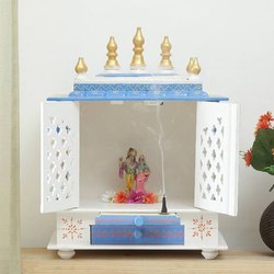 Teak Wood White Designer Temple