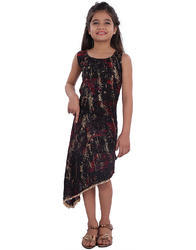 Black Rayon Fashionable Printed Girls Gown, Age: 2-10 Years