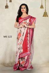 Floral Pattern Digital Print Linen Saree