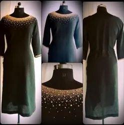 Cotton Party Wear Ladies Black Roud Neck Designer Kurti