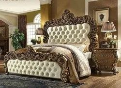 Teak Double Bed With Carving