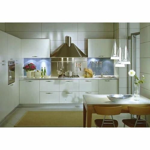 White SPYCE European Style Wooden Kitchens, 12 X 8 Feet, Warranty: 5-10 Years