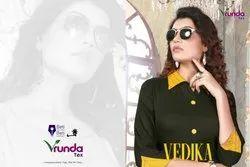 Vedika-Vrunda Tex Top With Gharara & Sharara Heavy Rayon Print & Daid Kurtis