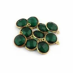 Chrome Diopside Checker Cut Gemstone Gold Plated Bezel Stone Connectors