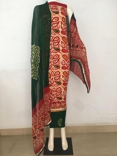 d89f526c7f Chiffon Embroidered Hand Block Printed Wax Batik Dress Material, Rs ...