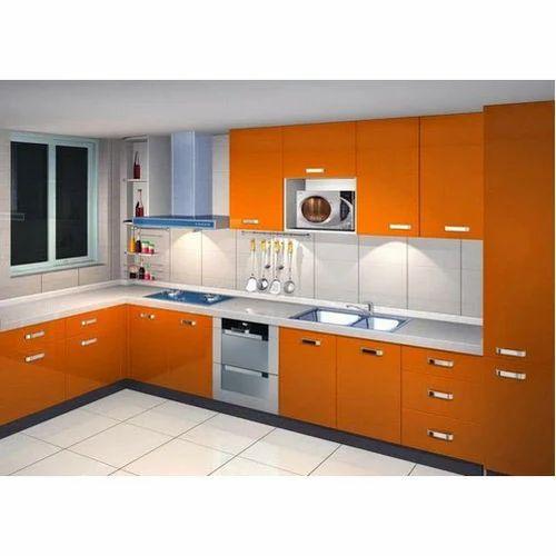 Orange Wooden Designer Kitchen Cabinet Rs 650 Square Feet Arunam Interiors Id 20021438897