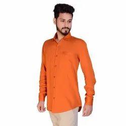Rust Aadhar Cotton Plain Full Sleeves Shirt, Size: s To 2xl