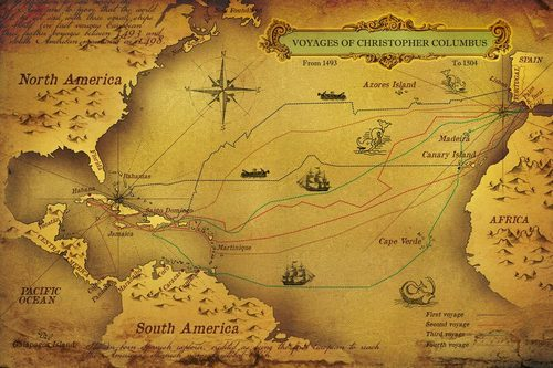 Nice Vinyl Horizontal Voyages Of Christopher Columbus World Map Wallpaper