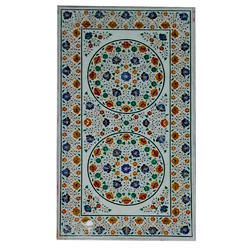 White Italian Marble Inlaid Dining Table Top