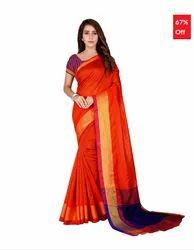 37a9d3383a518c Bhelpuri Orange Cotton Casual Wear Woven Saree with Blouse Piece