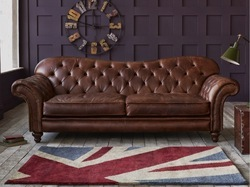 Masa Gaia Brown Leather sofa set