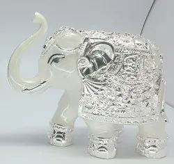4 Inch Silver Plated Elephant Statue