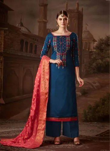 6fc4962923 Kesari Exports Straight Readymade Palazzo Salwar Suits with Banarasi Dupatta