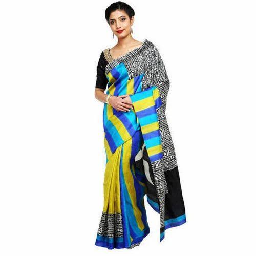 64c55ee5f2 Multicolor Plain Cotton Silk Saree, Rs 5600 /piece, Color India | ID ...
