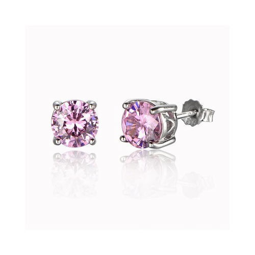 Ornate Solitaire Simulated Pink Diamond Studs Earrings