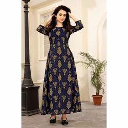 Ladies 3/4th Sleeve Designer Long Kurti, Size: XL