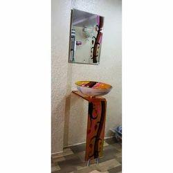 Glass Printed L Bend Vanity Wash Basin