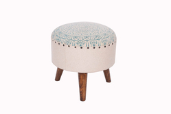 Cotton Printed Wooden Upholstered Foot Stool
