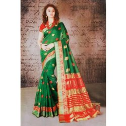 6 M Party Wear Ladies Cotton Designer Zari Saree