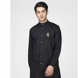 Green Hill Men's Designer Black Kurta Shirt