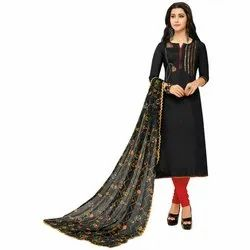Rajnandini Black Chanderi Silk Embroidered Semi-Stitched Dress Material With Printed Dupatta