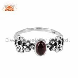 Pink Tourmaline Gemstone Indian Oxidized 925 Silver Rings